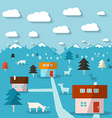 Winter Mountain Landscape Flat Design Abstract vector image