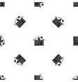 Wooden log house pattern seamless black