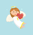 angel with heart winged girl with smile on face vector image vector image