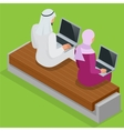 Arabian business man working on Laptop Arab vector image vector image