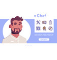 banner chef in restaurant linear icon set vector image