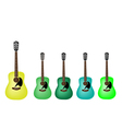 Beautiful Green Colors of Acoustic Guitars vector image vector image
