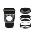 black and white coffee and macaroon silhouette set vector image