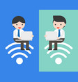 business people sitting on wifi symbol and using vector image