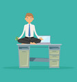 businessman meditating yoga lotus in office vector image vector image