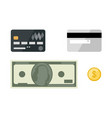cards with dollars flat icons vector image vector image