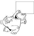 cartoon dinosaur running with a sign vector image