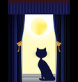 cat silhouette sitting on window sill looking out vector image vector image