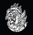 chicken rooster vintage tattoo vector image vector image