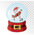 christmas glass magic ball with santa claus vector image vector image