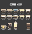 coffee recipe type and menu design vector image