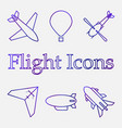 color icons of air vehicles on white vector image