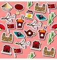 Colored China icons pattern vector image vector image