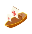 Columbus day ship isometric 3d icon vector image