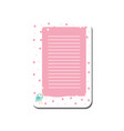 cute card with place for notes trendy pink lined vector image vector image