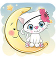 cute cartoon white kitten on the moon vector image vector image