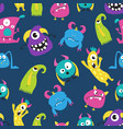 cute funny monster seamless pattern on blue vector image