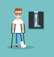 disabled nerd on crutches with broken leg vector image vector image