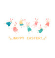 easter banner with happy bunnies vector image