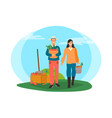 farmers harvesting man and woman working on field vector image vector image