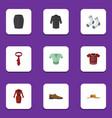 flat clothes set of male footware cravat foot vector image vector image