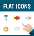 flat icon plumbing set of pump valve radiator vector image vector image