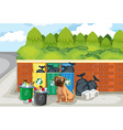 Garbage and dog vector image vector image