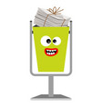 garbage monster face can with paper vector image