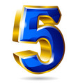 golden and blue number 5 isolated on white vector image vector image
