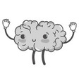 grayscale kawaii cute happy brain with arms and vector image vector image
