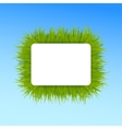 Green grass square frame on blue sky background vector image