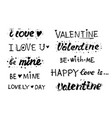 happy valentines day love lettering collection vector image vector image