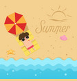 hello summerman sleep on the beach vector image vector image