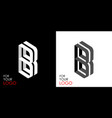 isometric letter b from stripes lines template vector image vector image