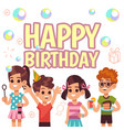 kids birthday poster children on celebration vector image vector image