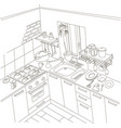 kitchen anime background style line drawing art vector image