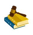 law books with a gavel icon vector image