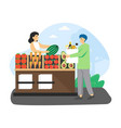local food market man ecologist buying organic vector image vector image