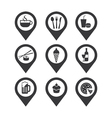 mapping pins icon food and drink vector image vector image