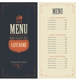 menu with cutlery fork spoon and knife vector image vector image
