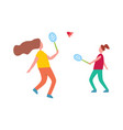 mother and daughter playing badminton vector image vector image