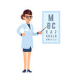 oculist doctor cartoon character stands in vector image