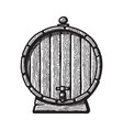 old wooden barrel with a tap in engraving style vector image vector image