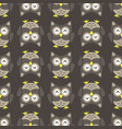 owl stylized art seemless pattern nature colors vector image
