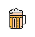 pint beer alcohol glass with drink flat color vector image vector image