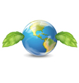 Planet earth with two leaves vector image vector image