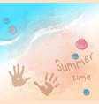 postcard print beach summer party with footprints vector image