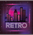 retro city with graphic neon style vector image vector image