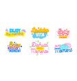 set icons enjoy moment with typography vector image