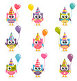 Set of colorful cartoon owls with balloons